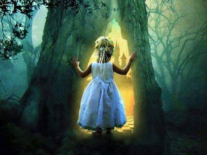 Vision of a fairy castle bathed in golden light by a little girl in a dark forest... will she dare to step into the light?