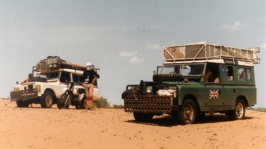 Two landrovers somewhere in the Sahara on our trip across Africa