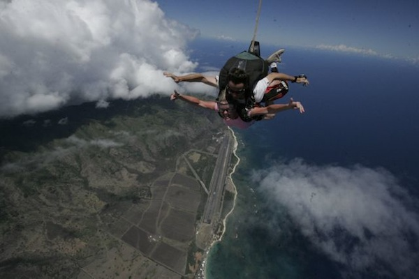 Skydiving Hawaii - this definitely was a little uncomfortable!