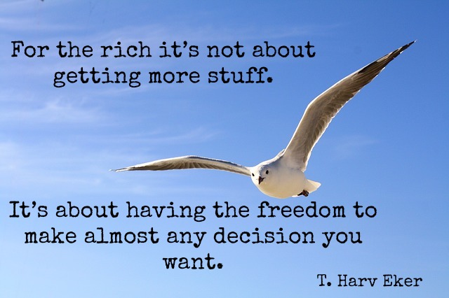 Seagull flying free - For the rich it's not about getting more stuff.  It's about having the freedom to make almost any decision you want.